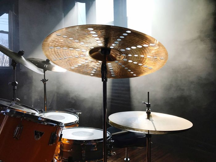 Music Drum Kit Drum - Percussion Instrument Cymbal Arts Culture And Entertainment Musical Instrument Percussion Instrument Indoors  Drummer Drumstick Recording Studio Day windows smoke mirrors