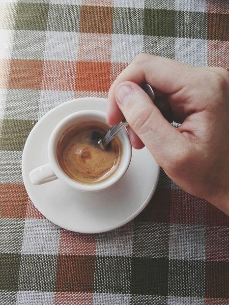 Espresso Coffee Cropped Hand Personal Perspective Unrecognizable Person