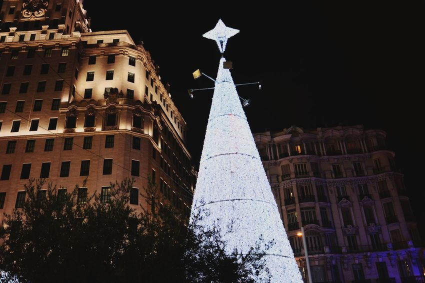 Crhistmas Time Decoration Crhistmastree Center City Capital Cities  Night Night Lights Christmas Decoration Wintertime Autumn Colors Nikon Nikonphotography SPAIN Travel Destinations Lovely Spirituality Tranquil Scene Relaxing Moments No People Outdoors Christmas Tree Built Structure Sky Time Clock City