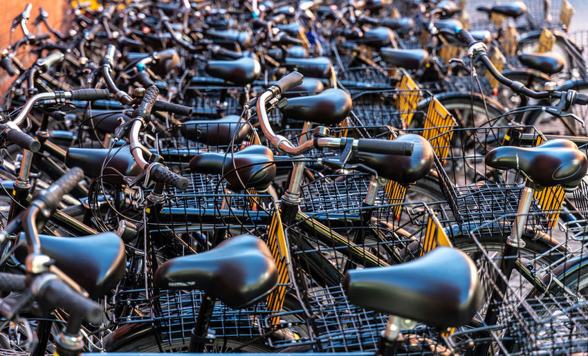 Full frame shot of bicycles parked in city