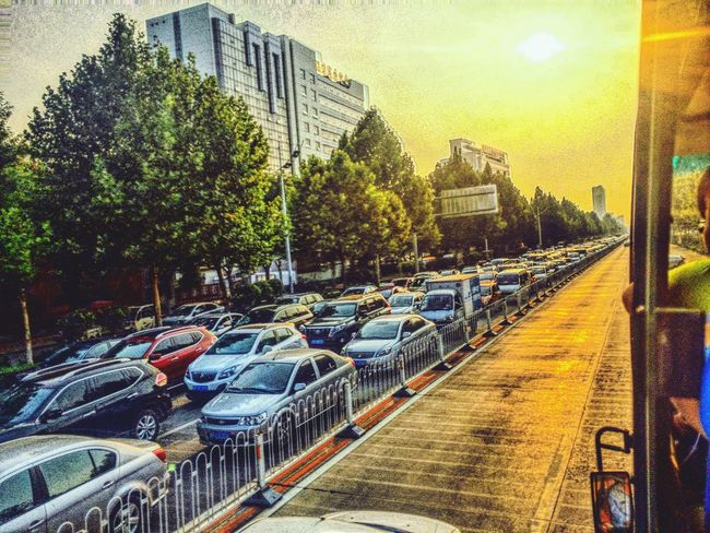 🌇🚗🚕🚙🚌🚓🚑🚐🚚🚛🌆 Transportation Car Tree Mode Of Transport Sunset City Street Outdoors Parked In A Row No People