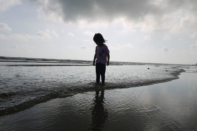 morning stroll One Person Beach Full Length Standing Sky People Reflection Cloud - Sky Sea Water Horizon Over Water Landscape Outdoors Children Only Tranquility Low Tide EyeEmNewHere