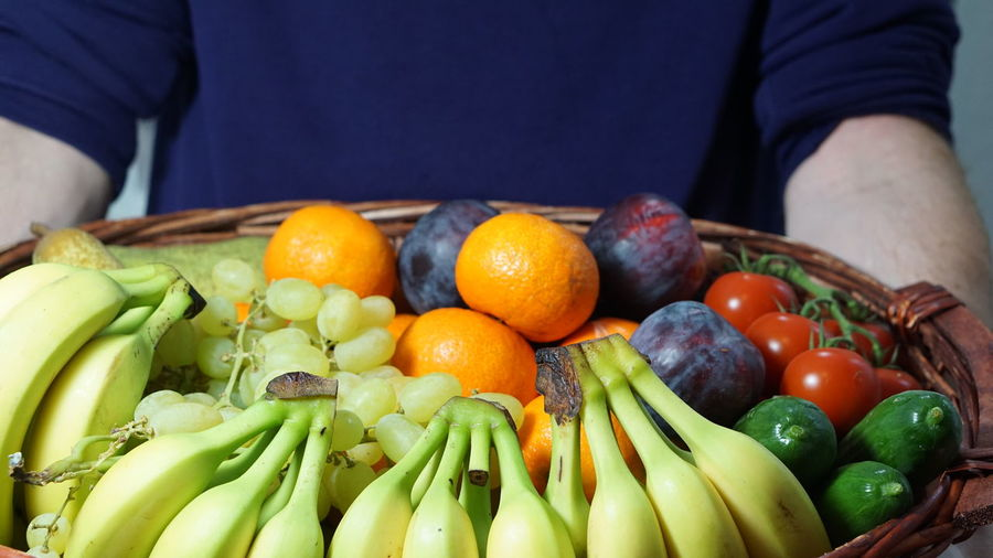 Close-Up Of Hand Holding Basket With Fruits And Vegetables