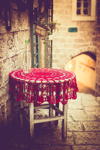 Jaffa Architecture Building Exterior Built Structure Day Handmade Israel No People Outdoors Red Street Table Tablecloth Vintage
