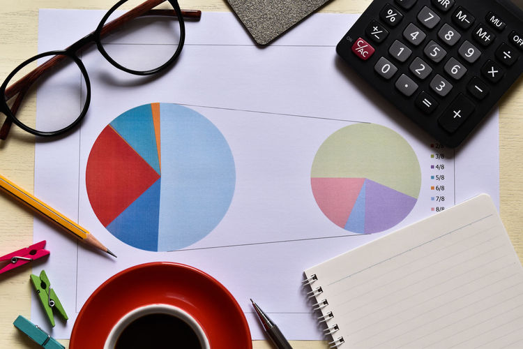 Directly above shot of pie charts with office supplies on desk in office