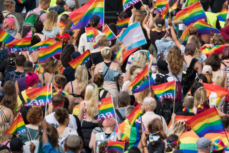 Stockholm Pride Parade 2017 Stockholm Pride 2017 Applauding Crowd Encouragement Flag High Angle View Large Group Of People Lgbt Men Mixed Age Range Parade People Pride Pride Parade 2017 Togetherness Unity Women Love Is Love