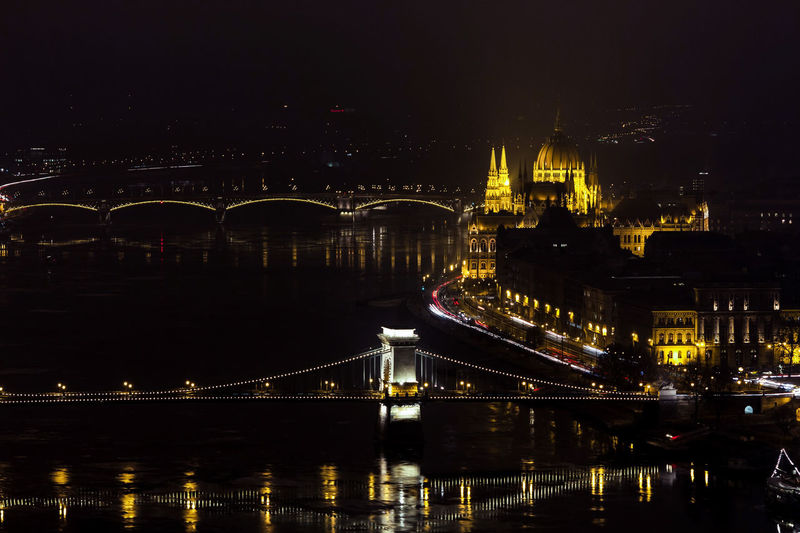 Architecture Bridge Bridge - Man Made Structure Building Exterior Built Structure Chain Bridge City Cityscape Connection Government Illuminated Nature Night No People Outdoors River Tourism Transportation Travel Travel Destinations Water HUAWEI Photo Award: After Dark
