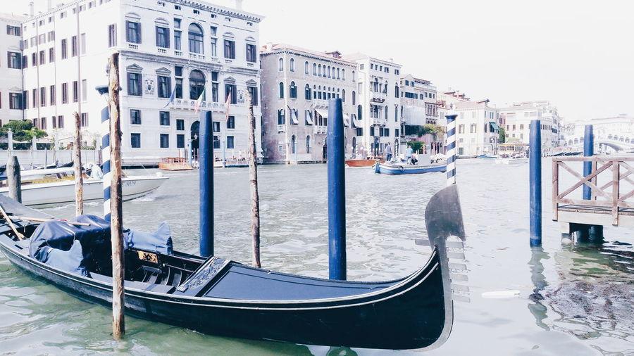 High key Gondola Nautical Vessel Water Outdoors Travel Destinations Architecture Gondola - Traditional Boat Day High Key High Key Photography Venice, Italy Venice Venezia Waves