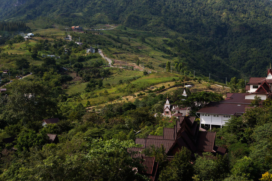 city on the hill in Thailand Beautiful Landscape Hill City Travel Background Light Town Agriculture Landscape Beauty In Nature High Angle View Rural Scene Nature Outdoors Field Terraced Field No People Growth Tree Scenics Sky Day