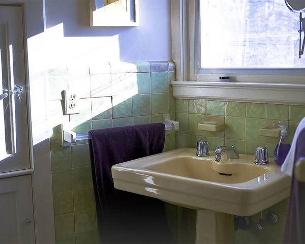 1930's Architecture Absence Bathroom Bathroom Sink Clean Day Domestic Bathroom Domestic Room Faucet Glass - Material Home Home Interior Household Equipment Hygiene Indoors  Mirror No People Reflection Seat Sink Towel Vintage Bathroom Window
