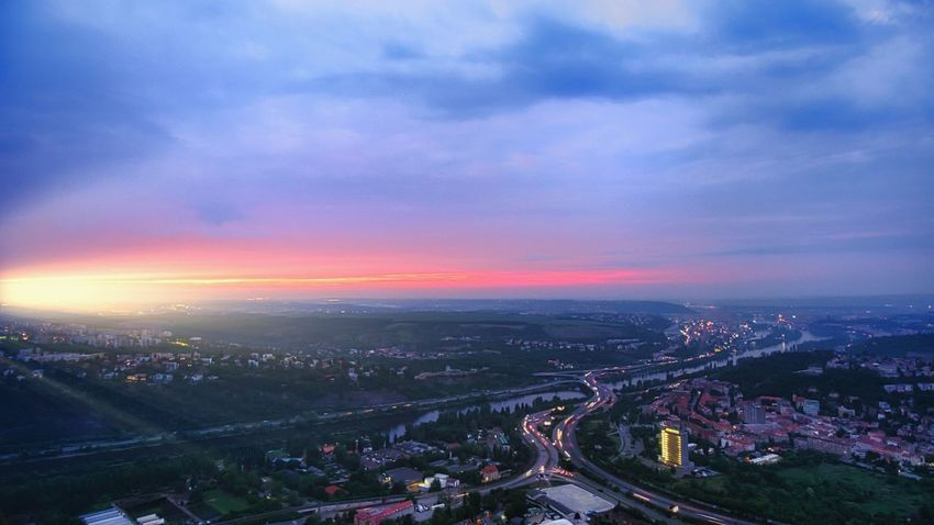 City Architecture Sky Building Exterior Illuminated Built Structure Cloud - Sky Transportation High Angle View Road Cityscape Sunset Dusk Nature No People Building City Life Traffic Highway EyeEmNewHere