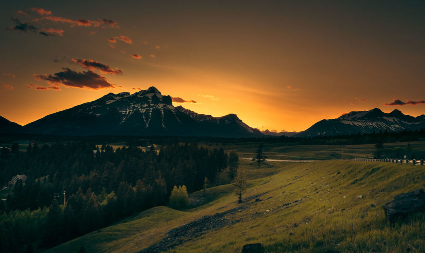 Mountain sunset Alberta , Canada Alberta Beauty In Nature Canada Landscape Mountain Mountain Range Nature No People Orange Color Outdoors Scenics Sky Sunset Tranquil Scene Tranquility