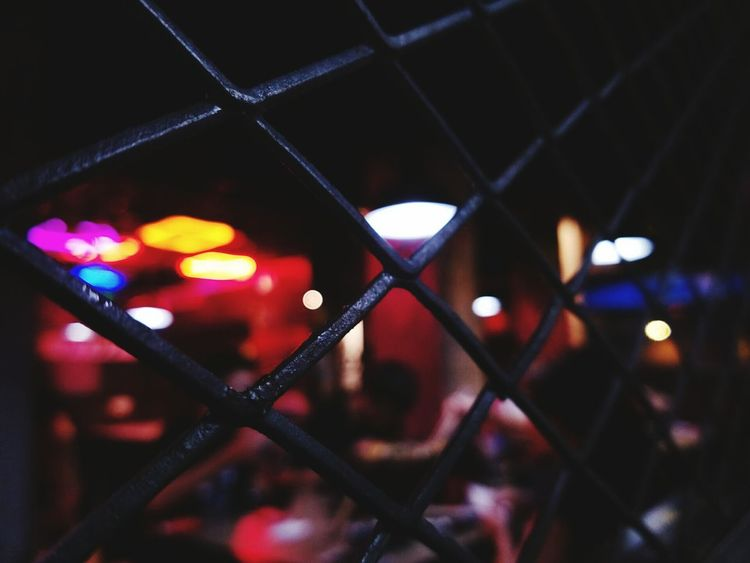 Chainlink Fence Protection Safety Metal Night No People Close-up Illuminated Defocused Outdoors City