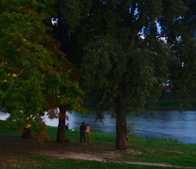 Painters Riverside Blur Flou Leisure Activity Outdoors Painted Image Painted Painter Painting Real People Standing Tree