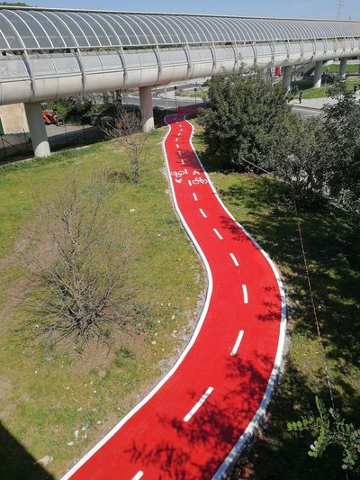 Degree Rome Italy Rome, Italy Rome Students Day Students Life Students Medicine Bicycle Lane Fiera Di Roma Symbol Motor Vehicle Connection City Land Vehicle Mode Of Transportation High Angle View Outdoors Curve Sign Built Structure Road No People Tree Nature Transportation Red Day Architecture Plant North Entrance