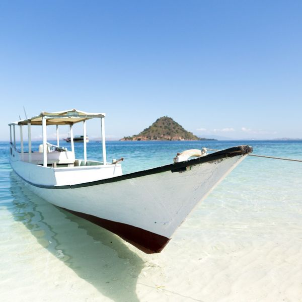 Boat parking, waiting for passengers Boat Blue Sky Clear Sky Clear Water Kelor Island Flores East Nusa Tenggara