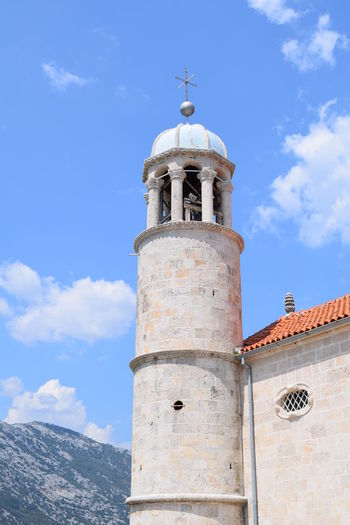 Perast Montenegro Architecture Belief Blue Building Building Exterior Built Structure Cloud - Sky Day History Low Angle View Montenegro Nature No People Outdoors Place Of Worship Religion Sky Sunlight The Past Tourism Tower Travel Travel Destinations