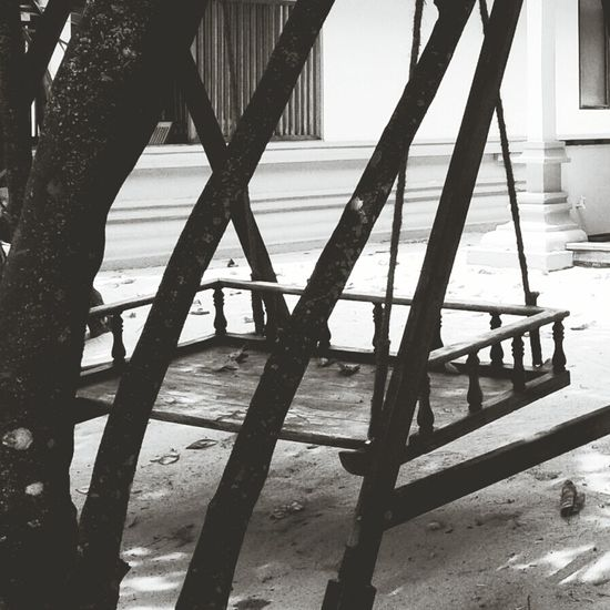 Black And White Wooden Swing