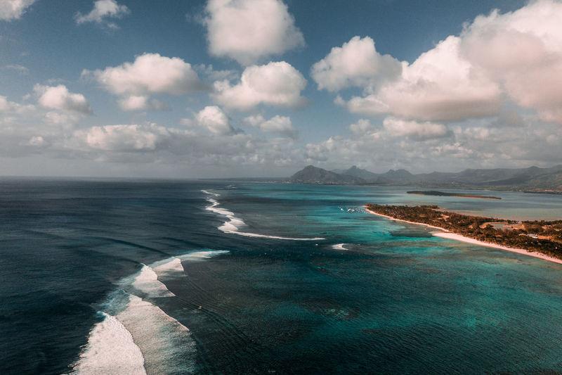 Aerial shot of mauritius
