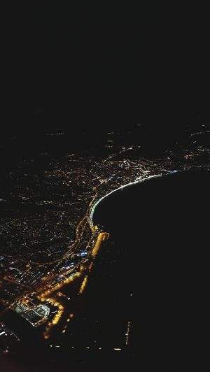 Night No People Flying Airplane Star - Space Outdoors Astronomy Commercial Airplane Nature Sky City France Vacation Holiday Nice Cityofnice Promenade Des Anglais Illuminated Urban Skyline Boats And Water