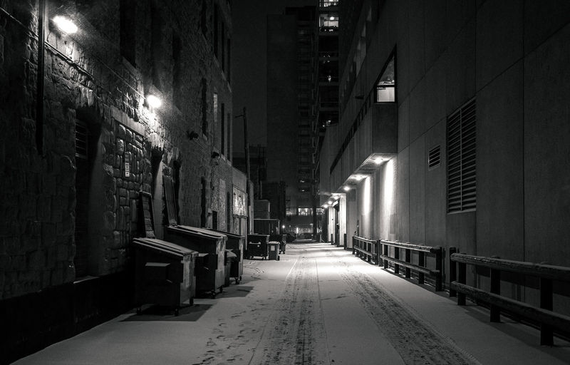 Dark alley at night, Calgary Architecture Built Structure The Way Forward Direction Night Illuminated City Building Street Empty No People Street Light Alley Winter Snow Cold Temperature Dark Bnw Blackandwhite Trashcan Calgary Waste Container