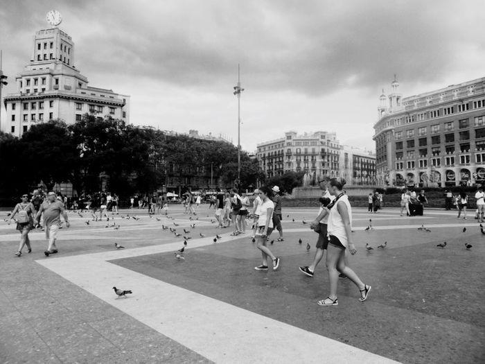 First Eyeem Photo Plaza Street Barcellona Blackandwhite