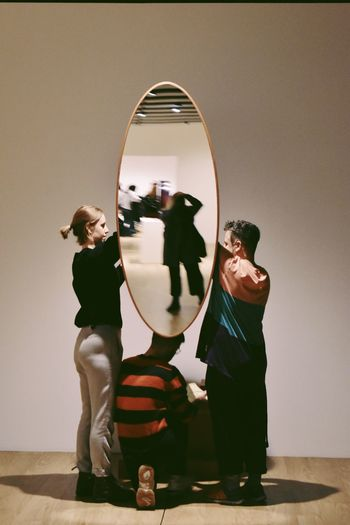 Culture Art Reflection Mirror Full Length Real People Women Standing Indoors  Lifestyles Togetherness Group Of People People Adult Casual Clothing Men Leisure Activity Friendship Clothing Females