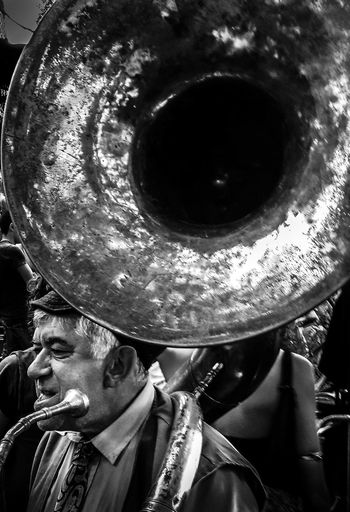 Adult Adults Only Black And White Photography Blackandwhite Brass Band Circles Close-up Day Instrument Instruments M Men Music Musician My Year My View One Man Only One Person Only Men Outdoors People Portrait Real People TakeoverMusic