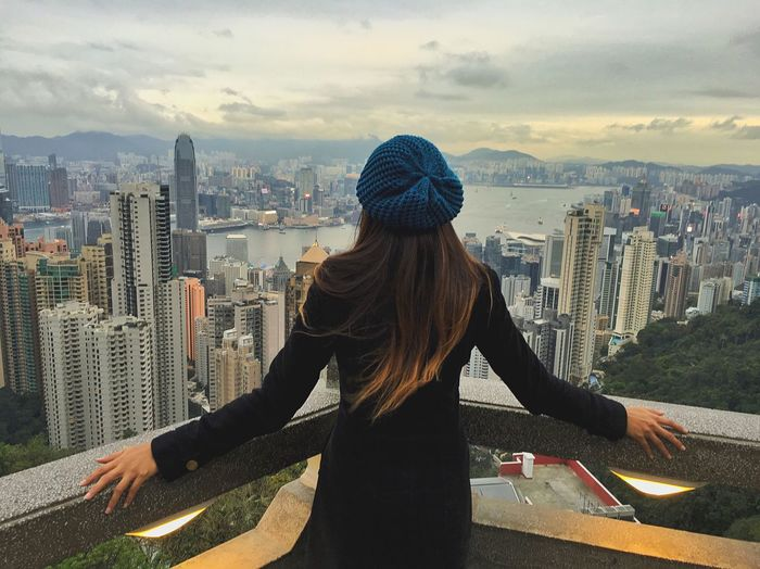 Woman Enjoying Life Cityscapes Urban Geometry Landscape People HongKong Sunset Portrait Of A Woman Women Who Inspire You Let Your Hair Down Embrace Urban Life Landscapes Adventures In The City