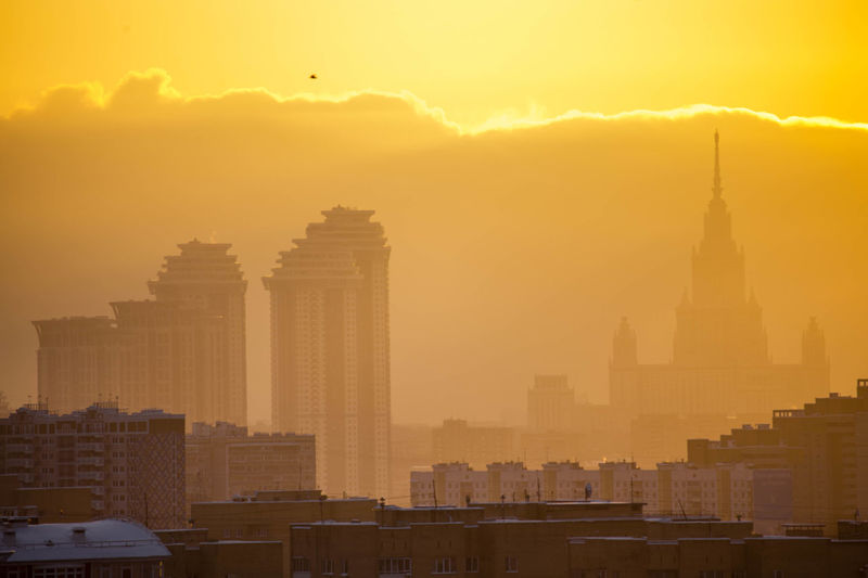 Frosty sunrise Morning Light Moscow State University Shades Of Winter Sunrise_Collection Architecture Building Exterior City Cityscape Fog No People Sky Urban Skyline Yellow