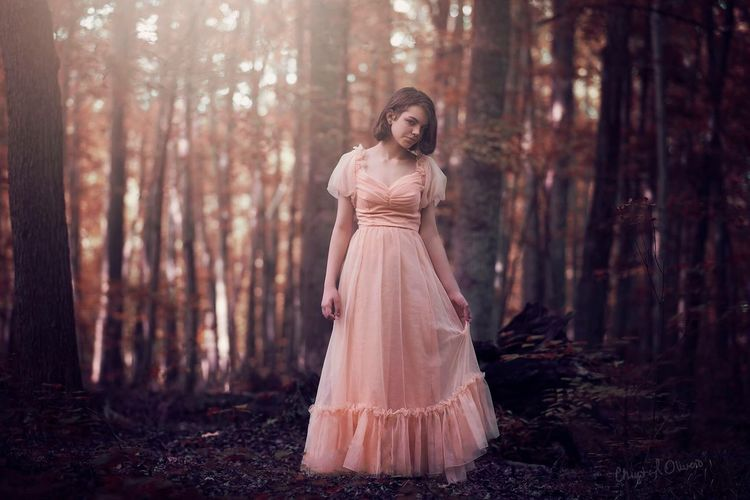 Forest Fashion Adult One Person Elégance Young Adult Autumn Tree Only Women Nature Beauty Beautiful Woman Formalwear Full Length WoodLand People Black Hair Young Women Evening Gown