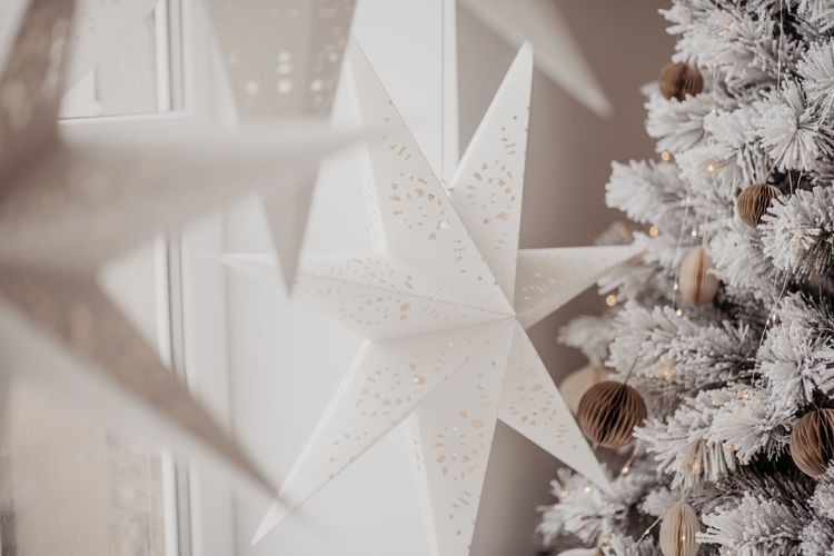 Close-up of christmas decoration hanging from ceiling