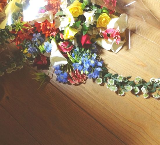 High Angle View Flower Flowering Plant Table Multi Colored Indoors  Plant No People Still Life Art And Craft Decoration Freshness Large Group Of Objects Creativity Wood - Material Abundance Beauty In Nature Variation Close-up Petal