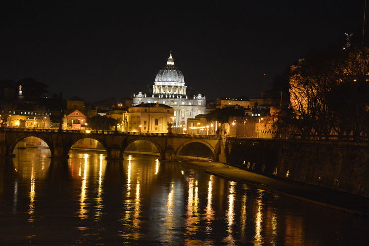 Tiber River By St Peter Basilica At Night