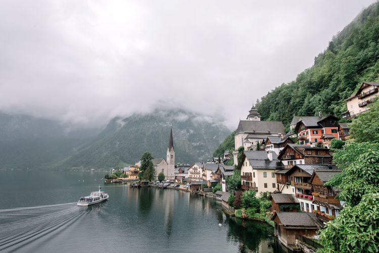 View of Hallstatt Austria Travel UNESCO World Heritage Site View Architecture Beauty In Nature Building Building Exterior Built Structure Hallstatt Landscape Mountain Nature Nautical Vessel Outdoors Residential District Scenics - Nature Travel Destinations Tree Unesco