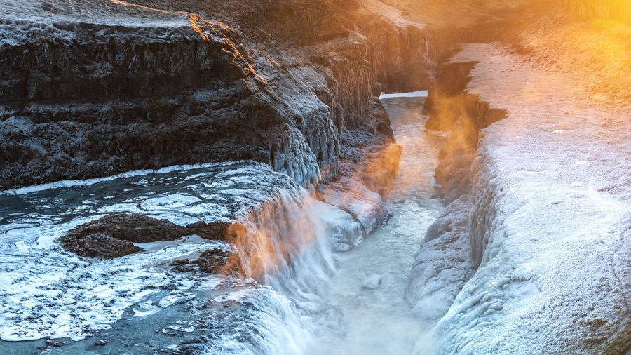Iceland Waterfall Gorge Ice Sunset Sunray Rocks Rocks And Water Winter Wintertime