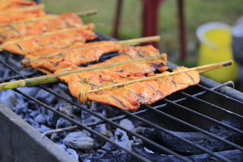 Grilled Chicken Grilled Chicken .Thailand Food Style Barbecue Food Meat Food And Drink Barbecue Grill Grilled Heat - Temperature Freshness Preparation  Skewer Preparing Food Day Close-up No People Focus On Foreground Outdoors Metal Metal Grate Healthy Eating Nature Temptation Snack