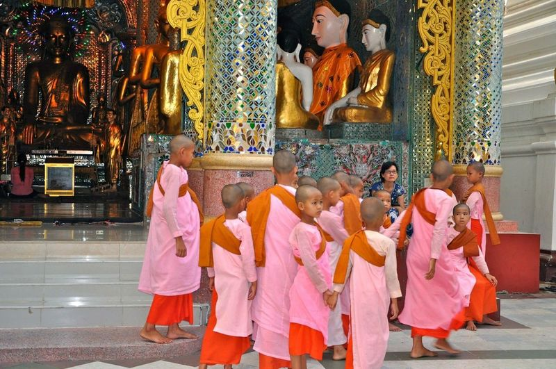 Myanmar Photography Myanmar Pagoda Myanmar Culture Myanmarphotos Myanmar Yangon Shwedagon Pagoda Monks In Temple Little Monks Monks Religion Belief Child Spirituality Childhood Place Of Worship Innocence Traditional Clothing