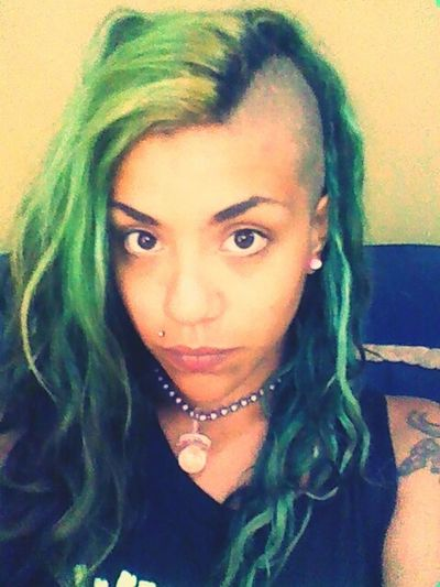 Shaved Head No Make Up Selfie Green Hair 90's Chick
