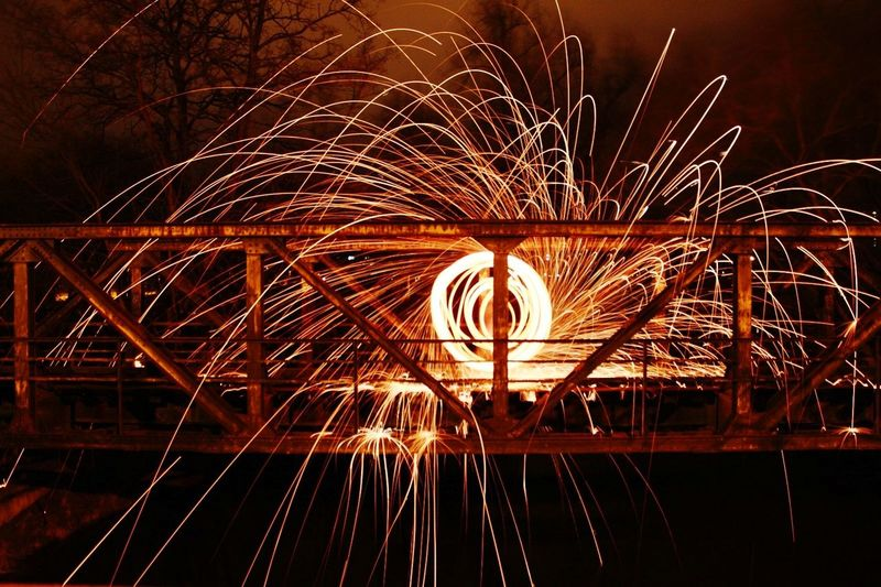 Steelwool Fire Burn Capture Tomorrow Illuminated Wire Wool Motion Long Exposure Blurred Motion Sky Light Painting Light Trail Tail Light Glowing Spinning Sparks Sparkler Firework