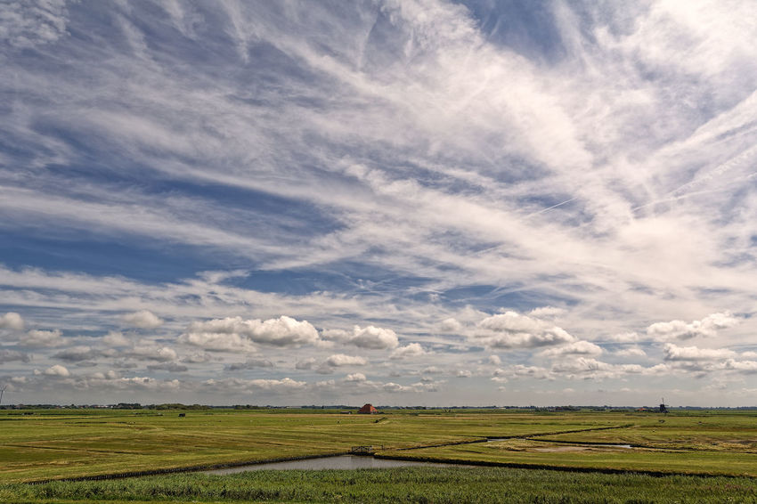 Complexity Of Clouds Green Windmill Blue Cloud - Sky Landscape Low Horizon Meadow Water