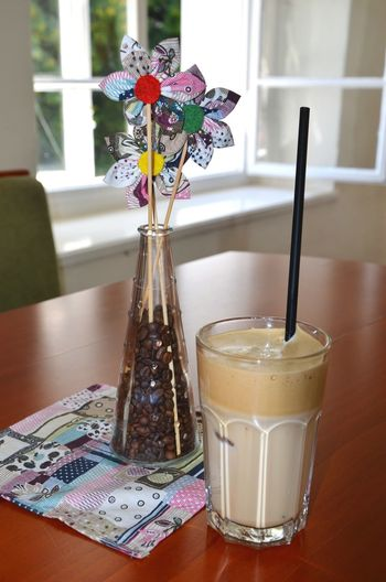 Coffee Food And Drink Drink Refreshment Vase Flower Table Bunch Of Flowers Bouquet Glass Flower Arrangement Window Indoors  Icedcoffee Cafe Decoration Textile Handmade Coffee Beans Coffee Shop