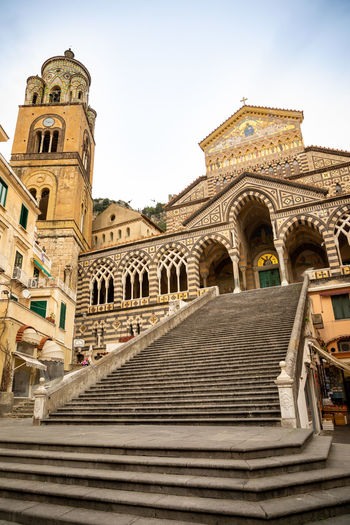 Italy Amalfi  Amalfi Coast Architecture Built Structure Building Exterior Religion Spirituality Building Belief Low Angle View Sky Staircase Place Of Worship History The Past Travel Destinations Day Steps And Staircases Nature Arch City No People Outdoors Ornate Courtyard