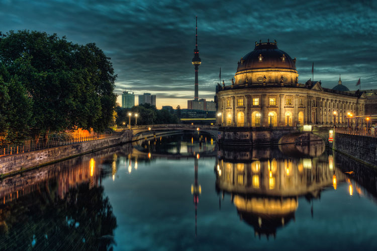 Architecture B Bodemuseum Building Exterior Built Structure City Cloud - Sky Dome Dusk Fernsehturm Illuminated Nature Night No People Outdoors Place Of Worship Reflection Sky Sonnenaufgang Spiegelung Television Tower Travel Destinations Tree Water Waterfront