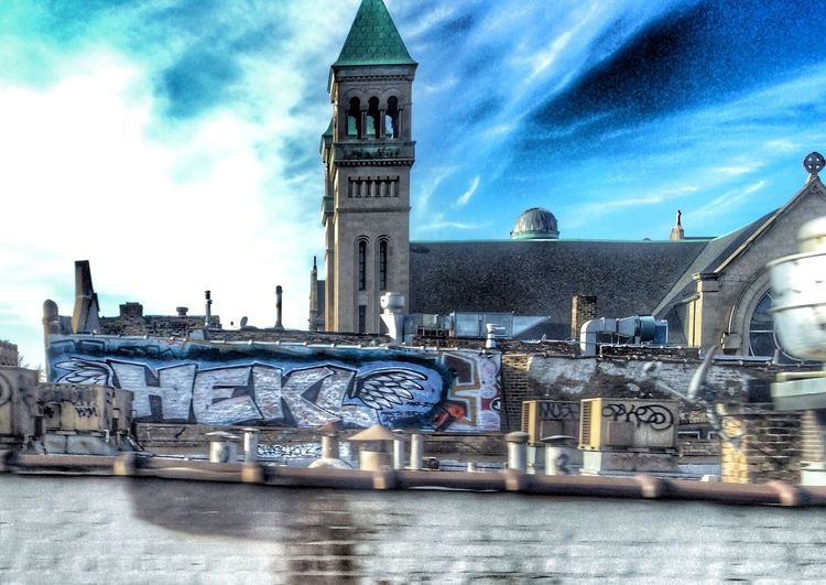 City Graffiti Building Chicago Urban Rooftop View  Streetphoto Angel Wings