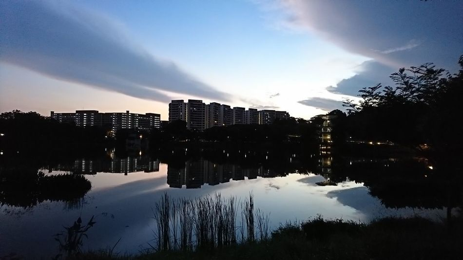 Reflection Cloud - Sky Water No People Tree Sky Early Morning Capture The Moment Architecture Outdoors Reflection Beauty In Nature Enjoying The Moment Sunrise Distress Running Around