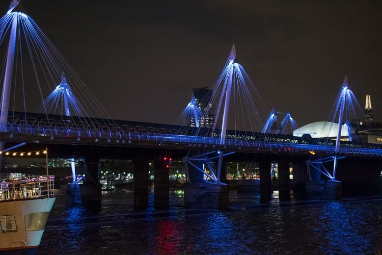 London Lifestyle London LONDON❤ Bridge - Man Made Structure Travel Travel Destinations Night Architecture Tourism Connection Illuminated Reflection City River Built Structure Transportation Water Suspension Bridge Outdoors No People Sky Cultures