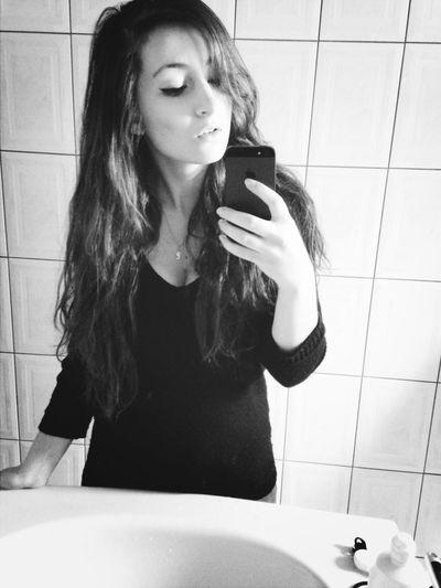 Mirror Selfie Girl Long Hair