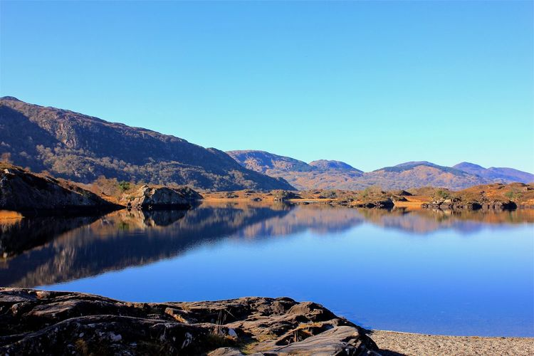 ring of kerry near killarney, ireland Nature Beauty In Nature Blue Clear Sky Day Desert Indoors  Lake Lakeshore Landscape Mountain Mountain Range Nature No People Outdoors Reflection Reflection Lake Reflections Ring Of Kerry Scenics Sky Tranquil Scene Tranquility Water Wilderness Area