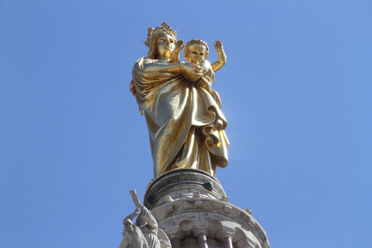 Virgin Mary And Jesus Christ Statue On Top Of Notre-Dame De La Garde